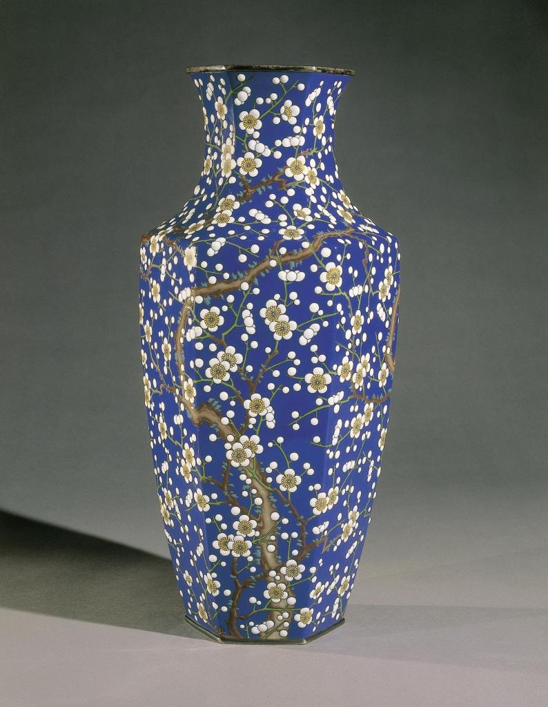 Hayashi Kodenji, Vase à décor de fleurs et d'oiseaux