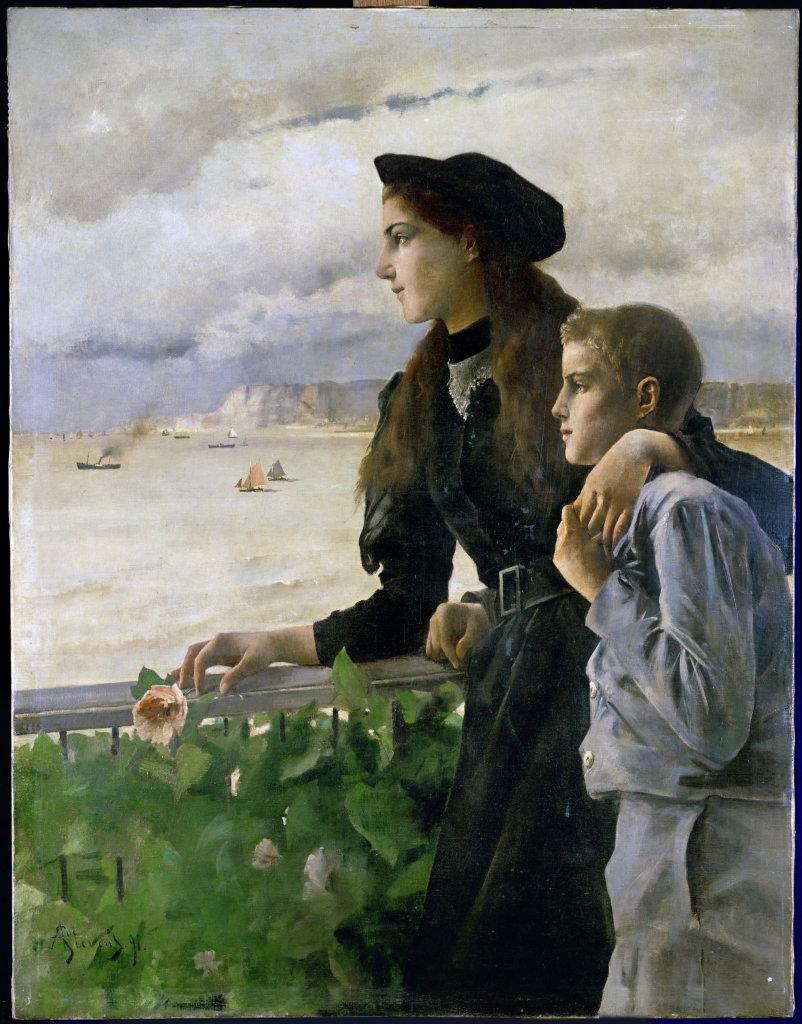 A.Stevens, Frère et soeur devant la mer à Honfleur, 1891