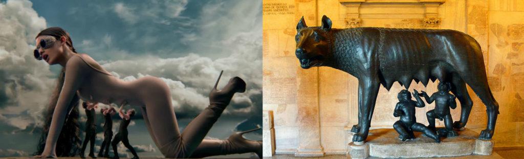Ariana Grande (dans le clip God is a woman) et la Louve du Capitol à Rome