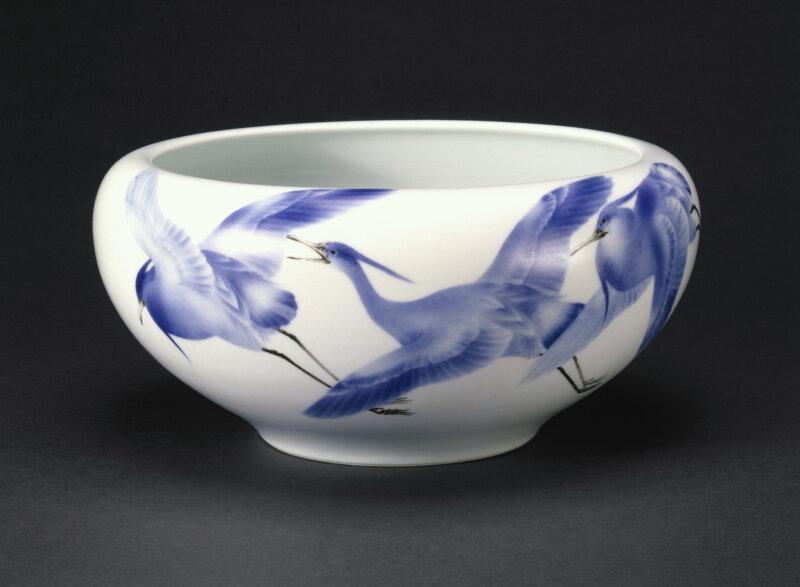 C.250-1910 Bowl; porcelain, with underglaze decoration of flying cranes in blue & black; made by Miyagawa Kozan (1842 - 1916); Japanese (Yokohama); 1900 - 10.