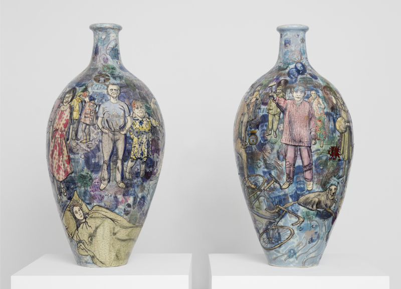 Grayson PerryMatching Pair, 2017Glazed ceramicDiptych, each: 105 x 51 cm41 3/8 x 20 1/8 in© Grayson PerryCourtesy the artist and Victoria Miro, London / Venice