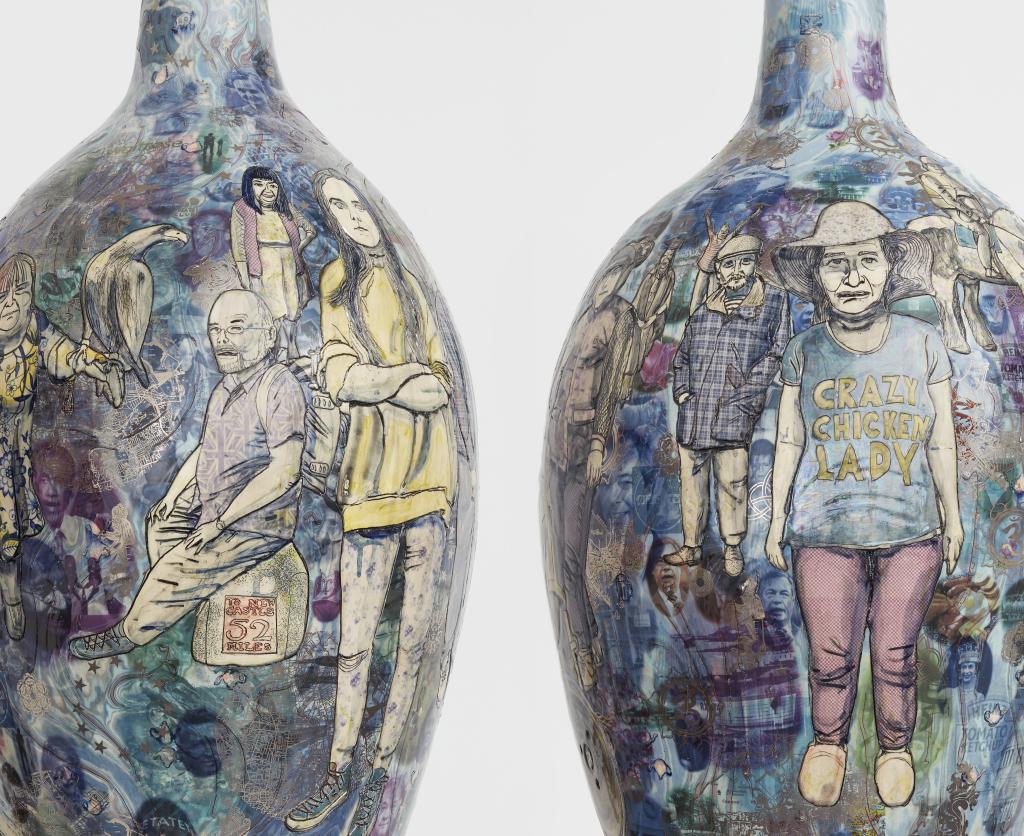 Grayson PerryMatching Pair, 2017Glazed ceramicDiptych, each: 105 x 51 cm41 3/8 x 20 1/8 in© Grayson PerryCourtesy the artist and Victoria Miro, London / Venice
