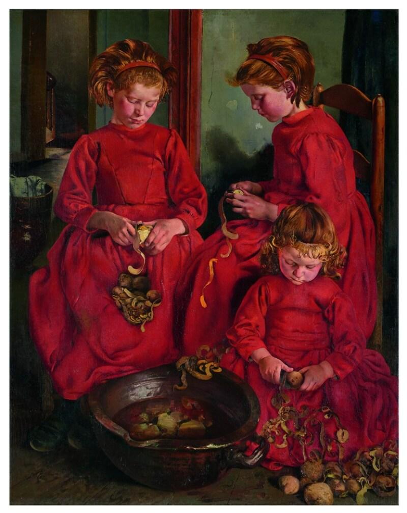 Léon Frederic (1856 – 1940), Trois Sœurs ou Les Eplucheuses de pommes de terre, 1896