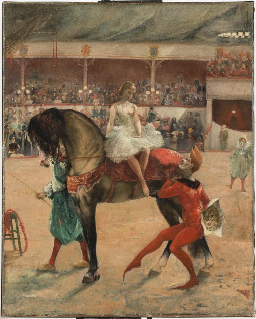 Le cirque, Joseph Buisson, Huile sur toile, vers 1890,© Musée de Bourgoin-Jallieu