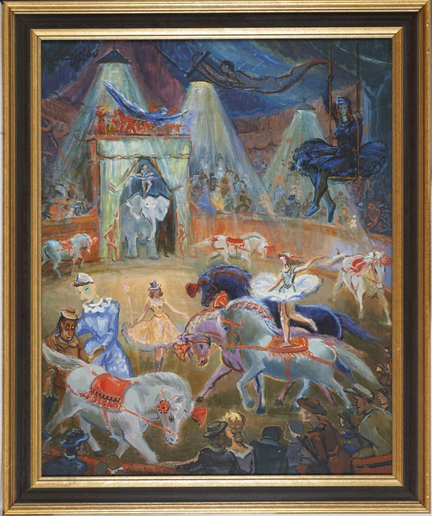 Les acrobates, Auguste-Joseph Clergé, Huile sur toile, 1950