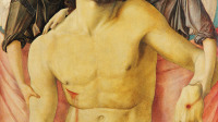 Giovanni Bellini, The Dead Christ supported by Two Angels, about 1470–5 Egg tempera on poplar 82.9 x 66.9 cm © Staatliche Museen zu Berlin, Gemäldagalerie / Photo: Christoph Schmidt