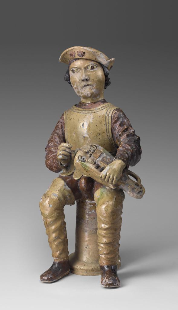 Musicien à la vielle, épi de faîtage, première moitié du 16e siècle