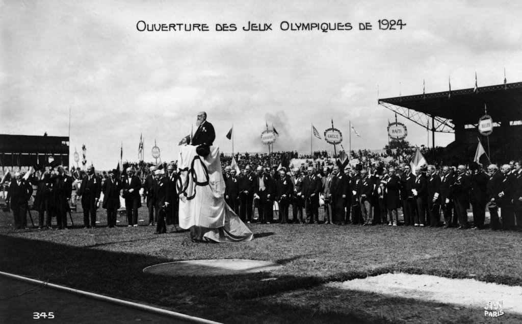 Paris 1924 OG, Opening Ceremony - Count Justinien DE CLARY, President of the French national Olympic Committee (FRA), giving a speech.