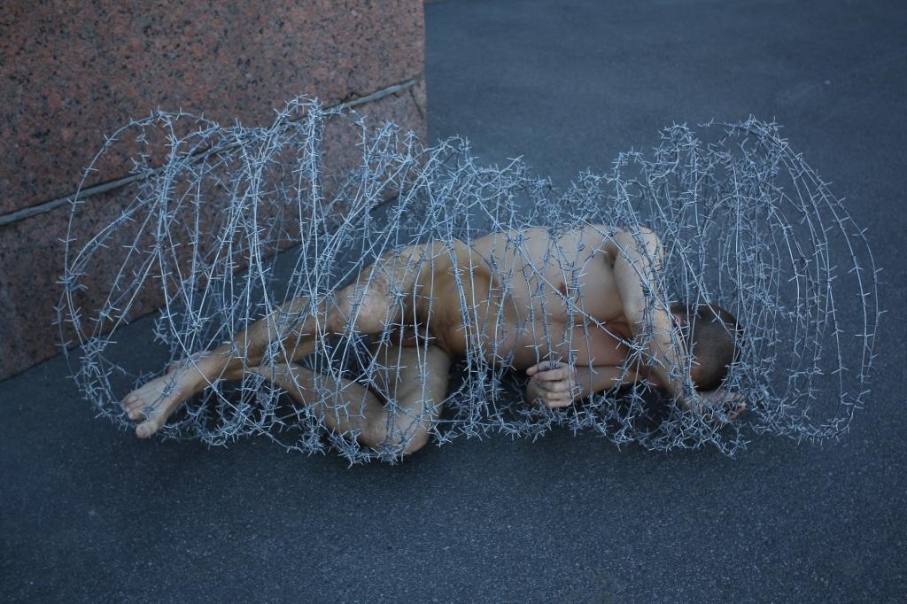 Petr Pavlensky, Carcass, 2013. Pavlensky Petr's Archive