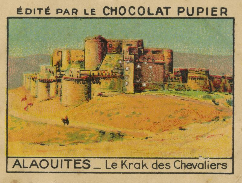 Vignette imagée éditée par le Chocolat Pupier n°53, « Alaouites - Le Krak des Chevaliers »© Collection particulière - dr
