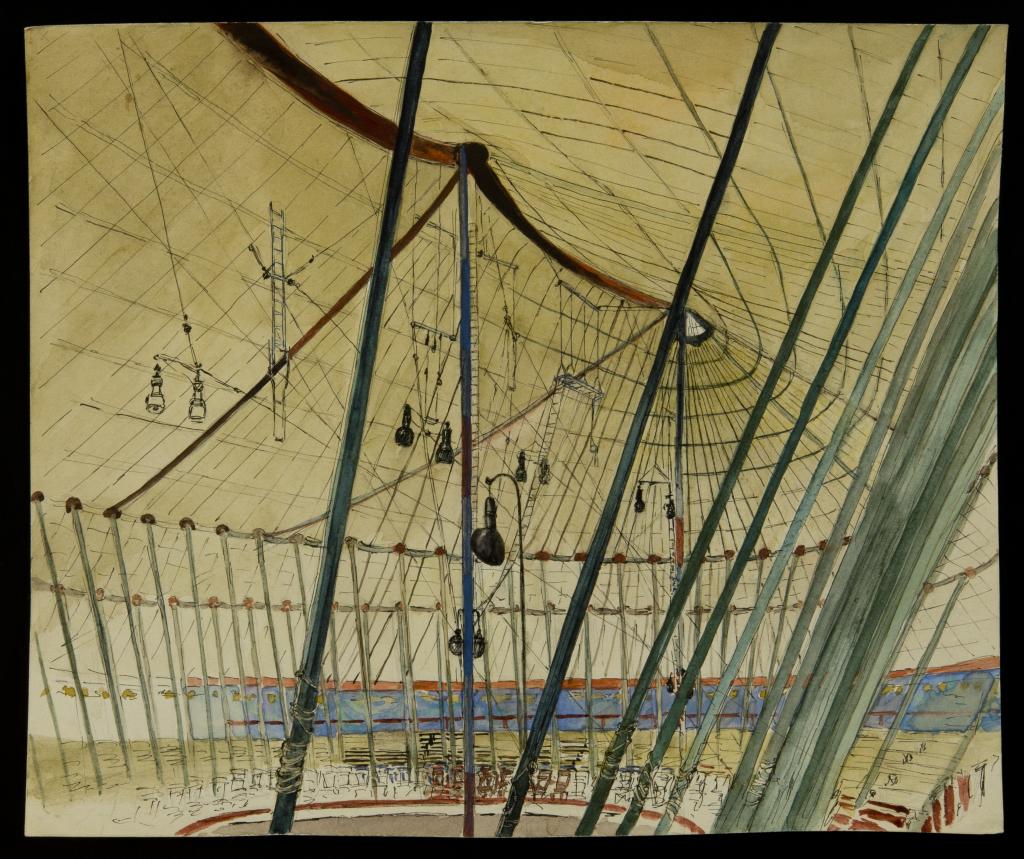 Vue intérieure d'un chapiteau de cirque, Marthe et Juliette Vesque,Dessin, vers 1950