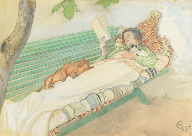 Carl Olof Larsson, Jeune femme allongée sur un banc, 1913