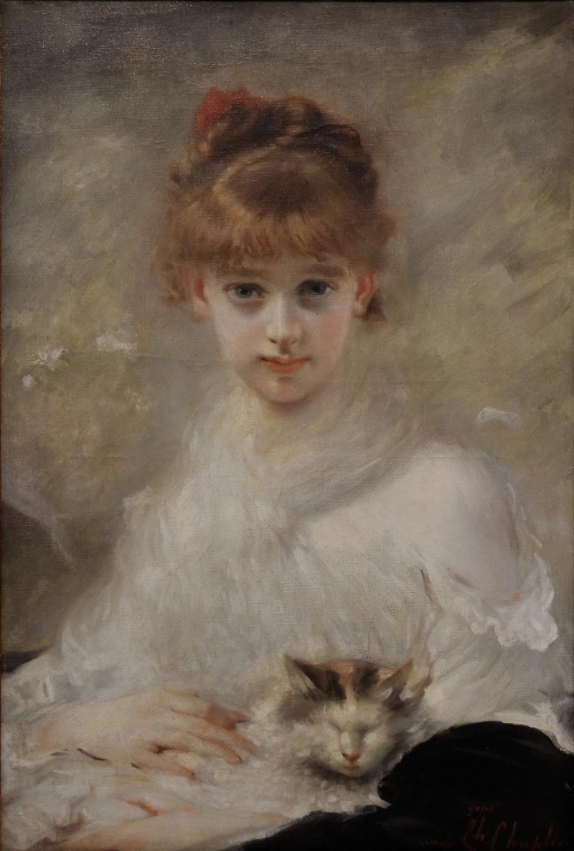 Charles Chaplin, Jeune fille au chat, 1889