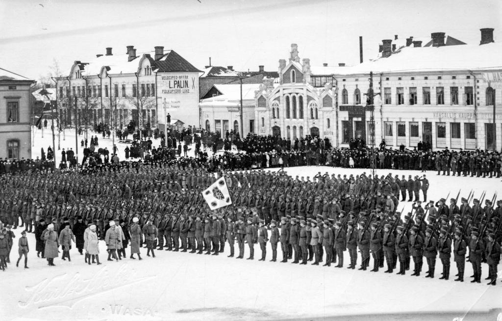 Passage en revue des troupes finlandaises, 26 février 1918
