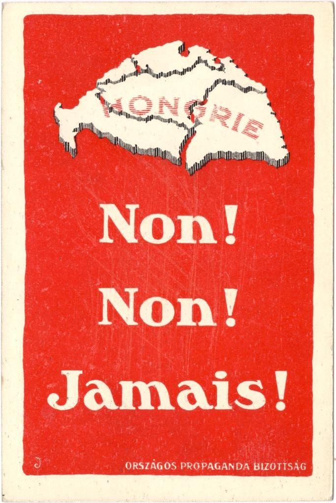 Carte postale contre le traité de Trianon et le partage de la Hongrie