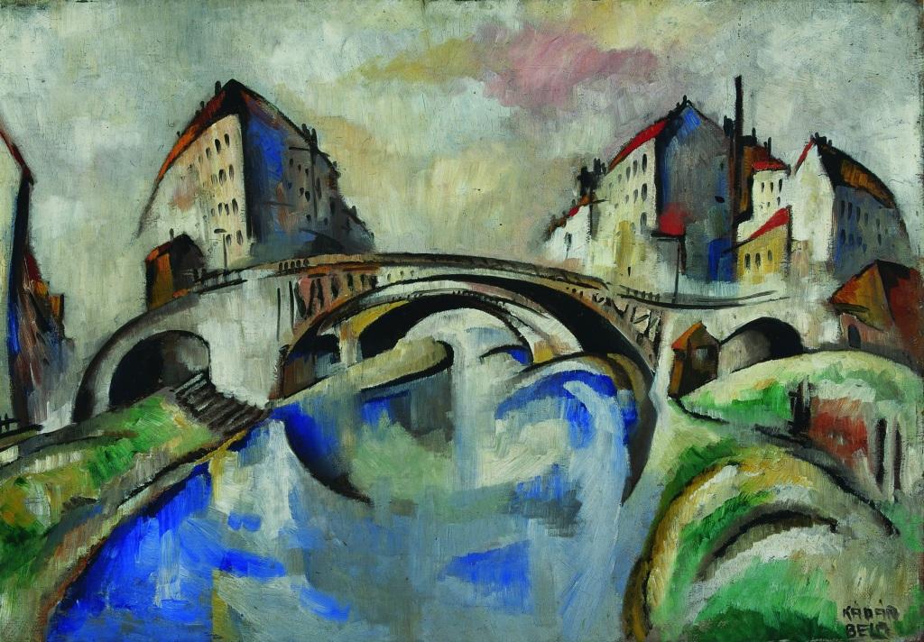 Béla Kádár, Cityscape with Bridges, 1921