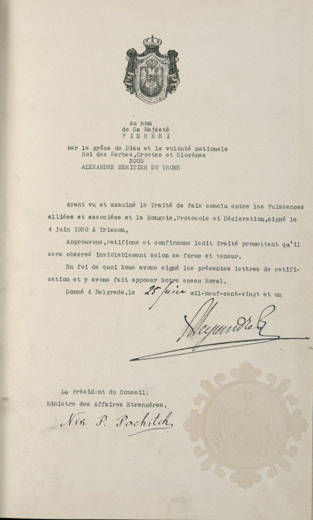 Traité de Trianon signé le 26 novembre 1920