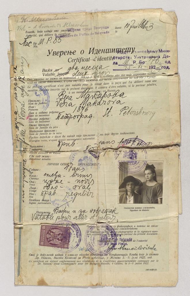 Passeport Nansen établi en 1923 à Belgrade pour Véra Makarova et sa fille