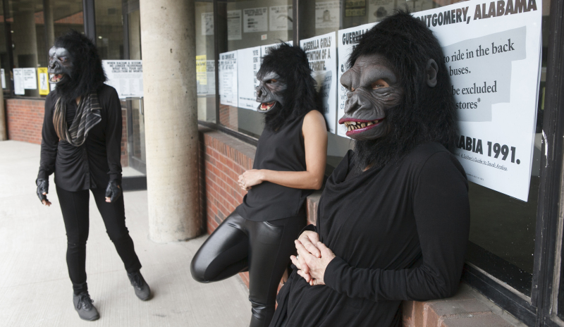 Photo © Andrew Hindraker Guerrilla Girls artists Kathe Kollwitz, Zubeida Agha and Frida Kahlo during a press preview for an exhibition of works by the Guerrilla Girls titled