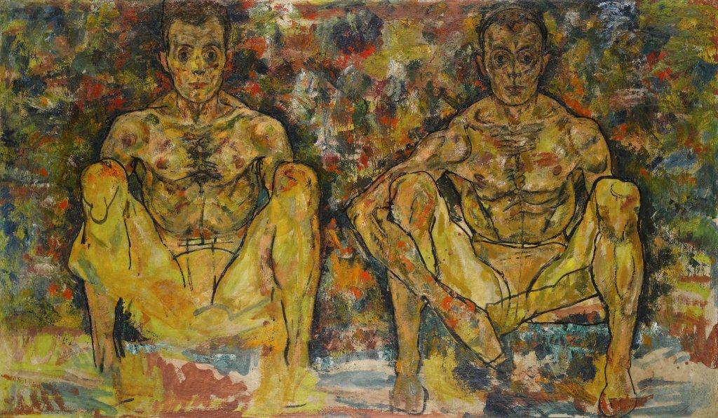 Egon Schiele, Squatting Men (Double Self-Portrait), 1918