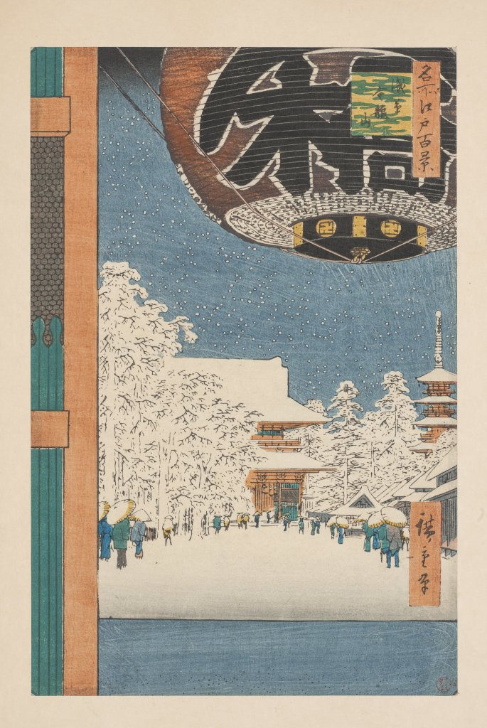 Ando Hiroshigé, « Le temple de Rinzyuzan à Asakusa » Estampe Japon, 1856