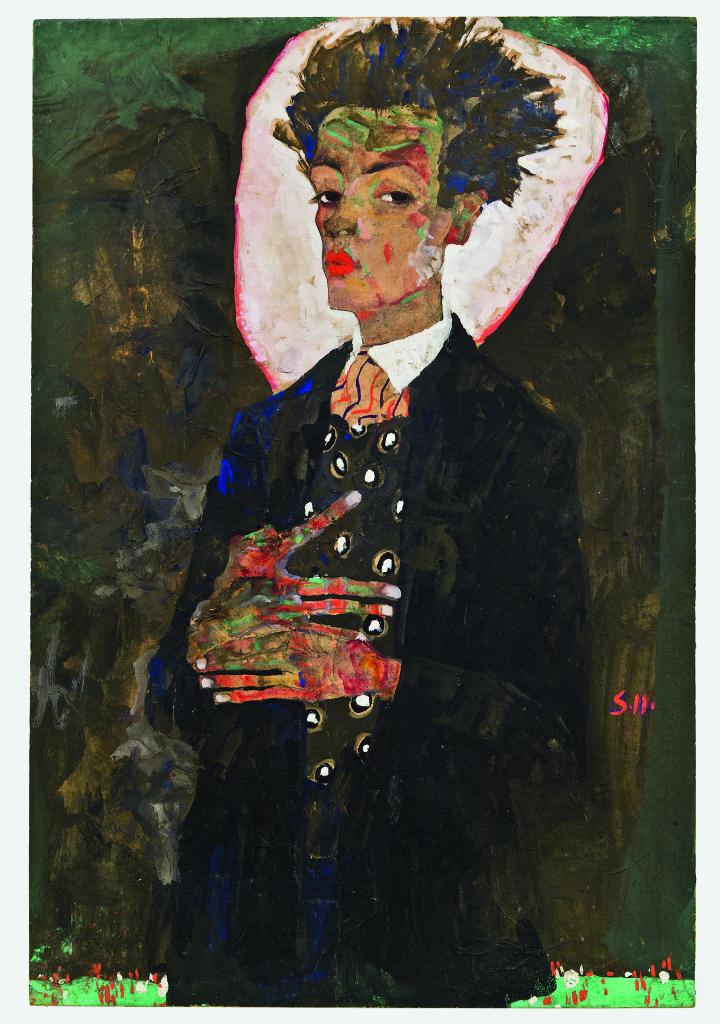 Egon Schiele, Selbstporträt mit Pfauenweste, stehend (Self-Portrait with Peacock Waistcoat,Standing), 1911