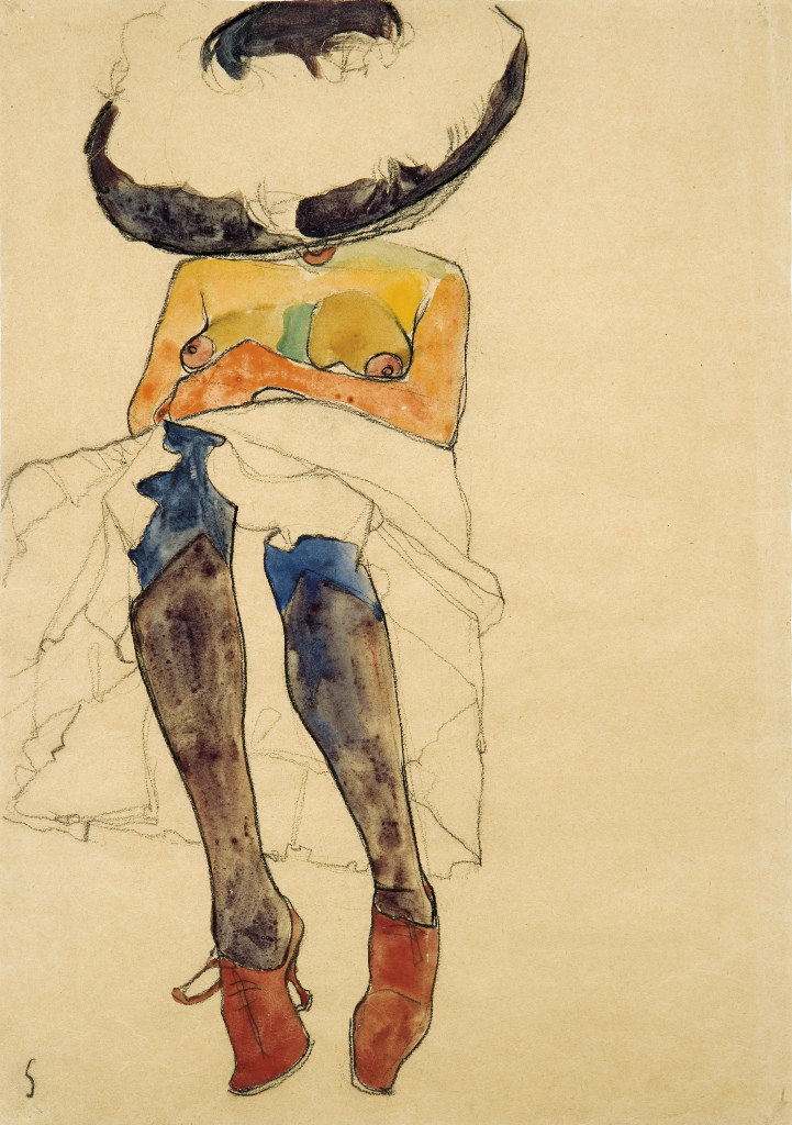 Egon Schiele, Seated Semi-Nude with Hat and Purple Stockings (Gerti), 1910