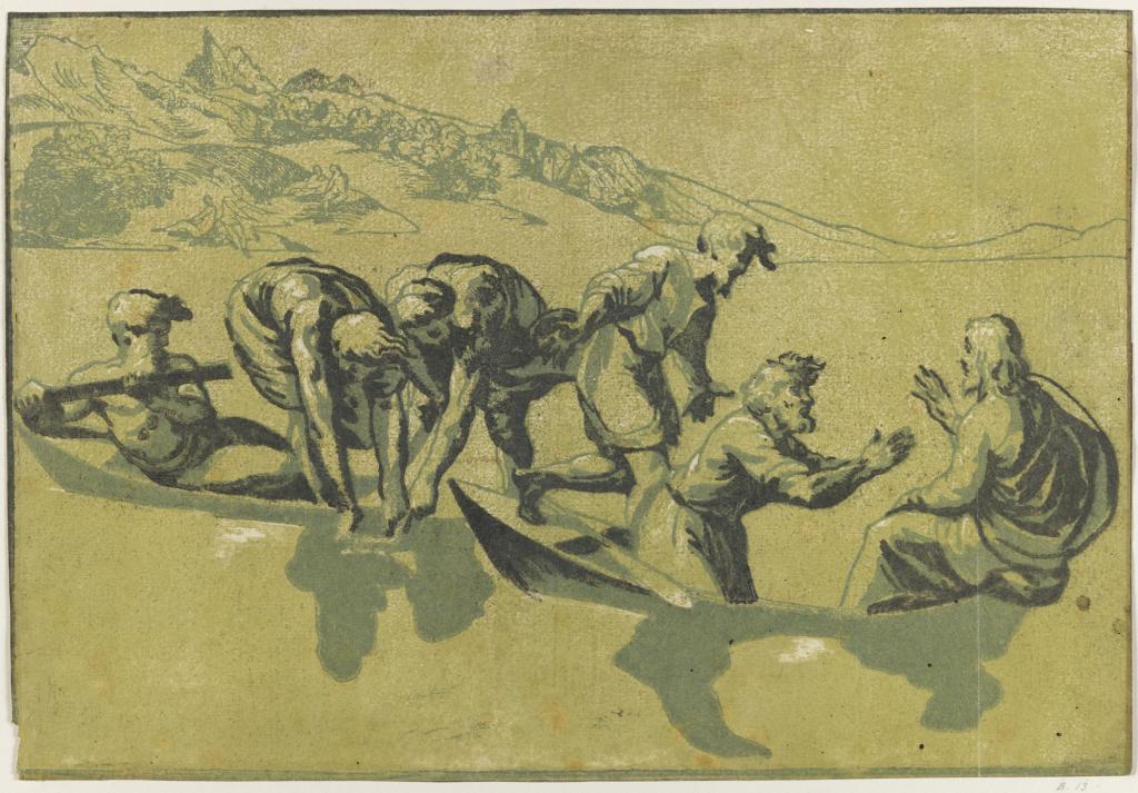 Giuseppe Niccolò Rossigliani, dit Niccolò Vicentino, d'après Raphaël, La Pêche miraculeuse, Années 1540