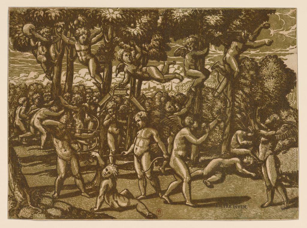 Maître ND, d'après Raphaël et/ou son atelier, Putti jouant, 1544