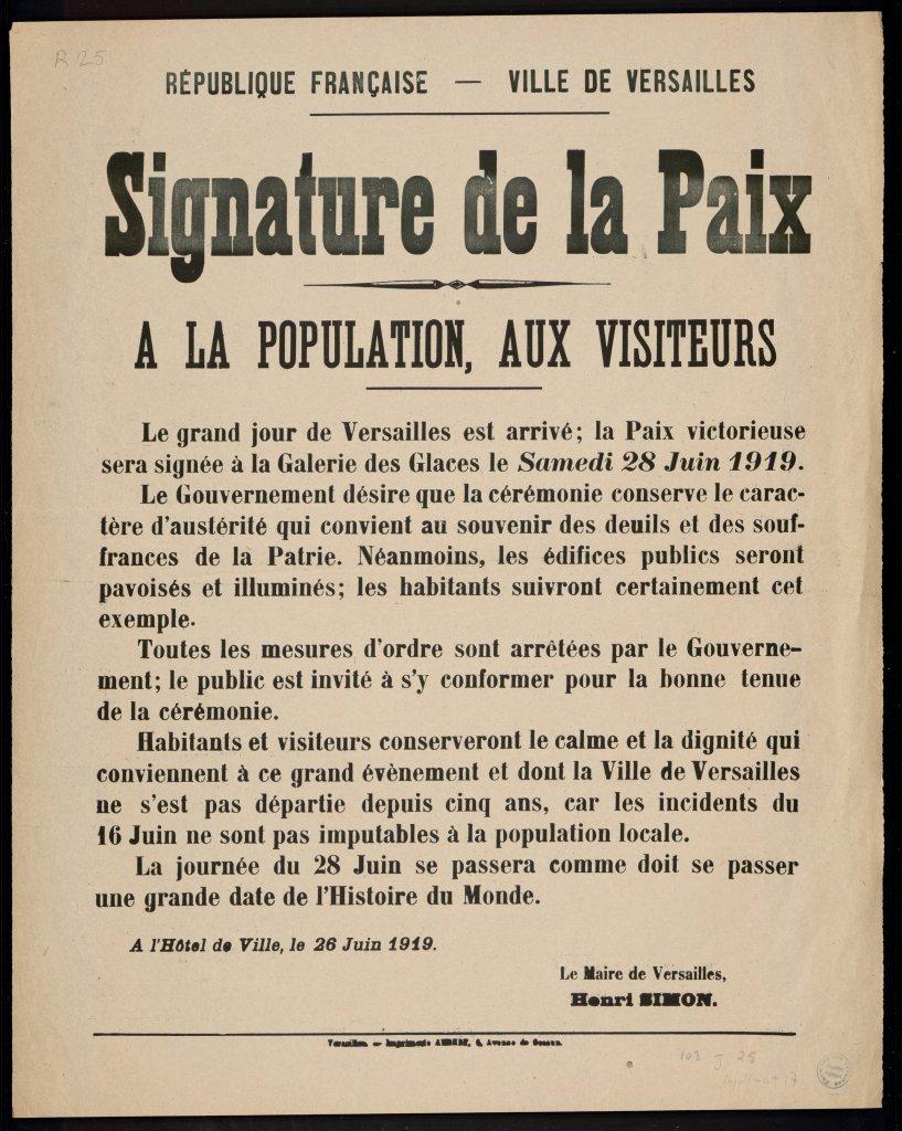Affiche destinée à la population de Versailles, 26 juin 1919