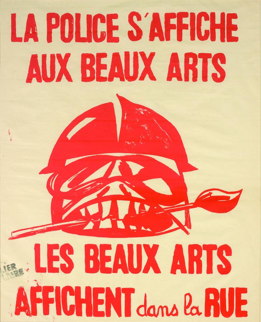 Anonyme, La police s'affiche aux Beaux-Arts. Les Beaux-Arts affichent dans la rue, 1968
