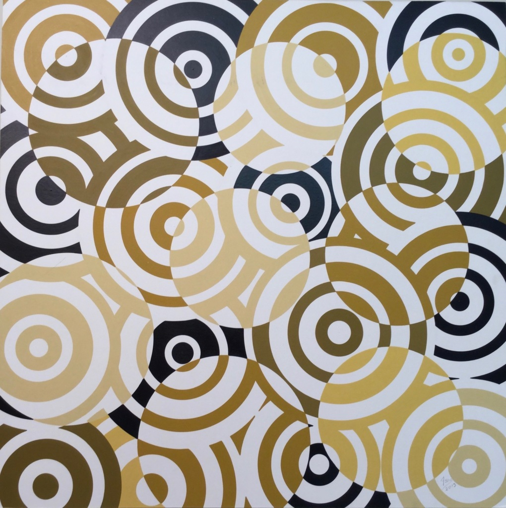 ANTONIO ASIS - série 'Interferencias', 1962, Peinture acrylique sur bois, 60 x 60 cm (2)