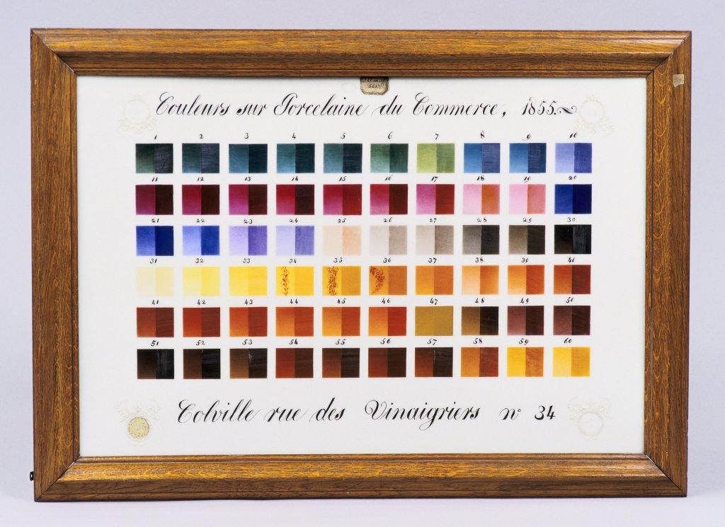 Tableau d'échantillon de 60 couleurs pour la peinture sur porcelaine, 1850-1855 Antoine Colville Chimiste, Exposition universelle 1855