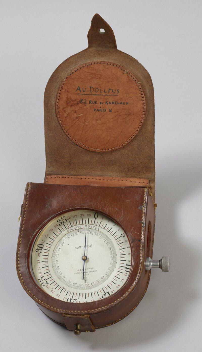 Altimètre compensé en température, pour mesurer l'altitude jusqu'à 4 000 mètres - Construit par Bordé, Paris, vers 1920