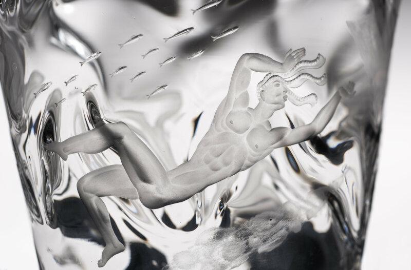 """Vase """"Les Quatre Vents"""" Vicke Lindstrand (1904-1983) voor Orrefors Suède ca 1925"""