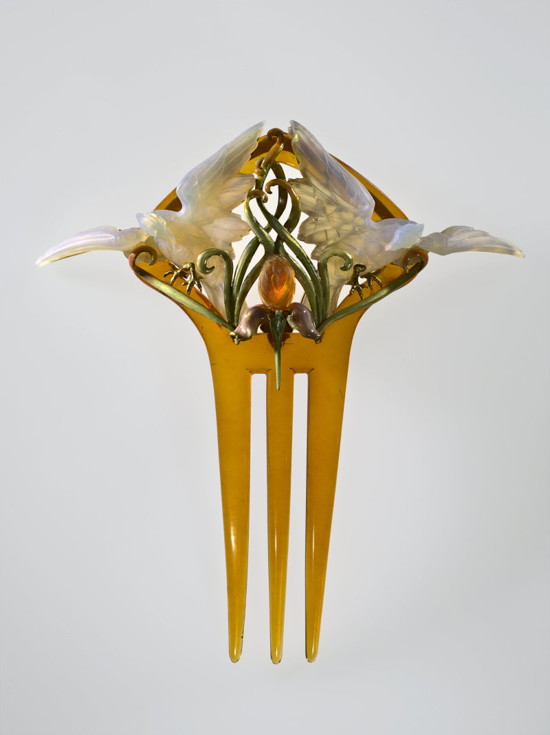 """Peigne de coiffure """"Oiseaux et Iris"""" Philippe Wolfers (1858-1929) Belgique 1899-1900"""