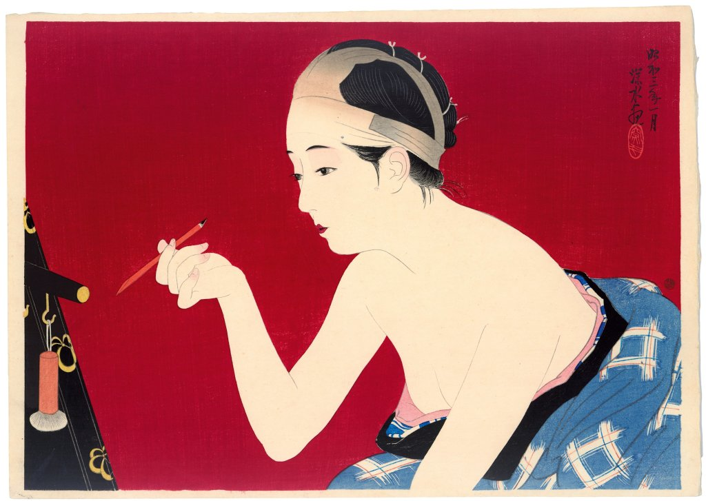 Itō Shinsui, Femme se noircissant les sourcils, 1928