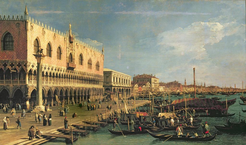 Palazzo Ducale and the Riva degli Schiavoni, Venice (oil on canvas)