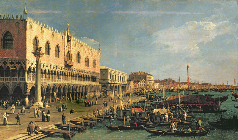 FTB95866 Palazzo Ducale and the Riva degli Schiavoni, Venice (oil on canvas) by Canaletto, (Giovanni Antonio Canal) (1697-1768); Castello Sforzesco, Milan, Italy; Italian,  out of copyright