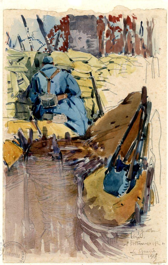 Mathurin Méheut, Guetteur dans l'entonnoir - la Gruerie, 1915