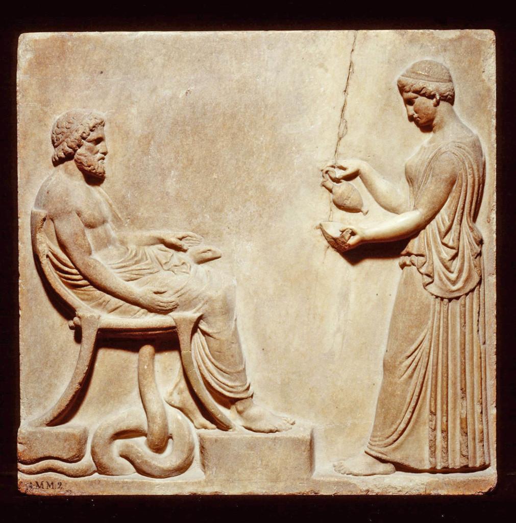 Relief représentant Asclépios et Hygie