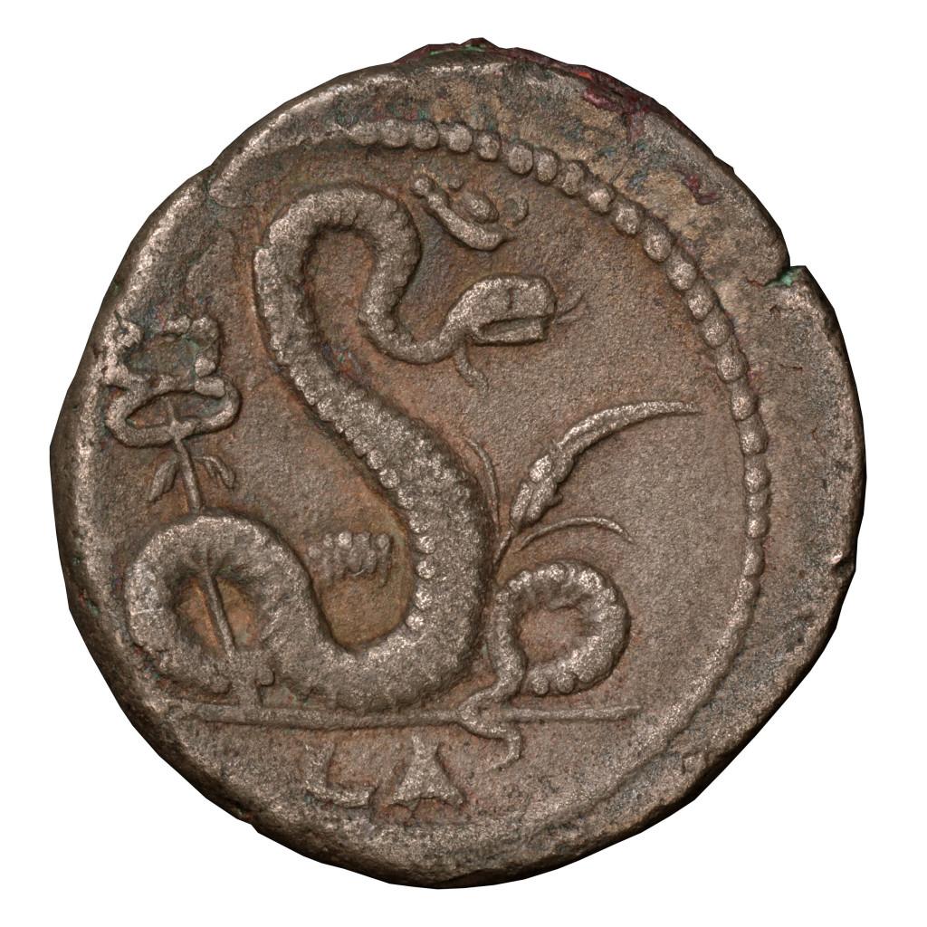 Tétradrachme de Nerva avec serpent sacre