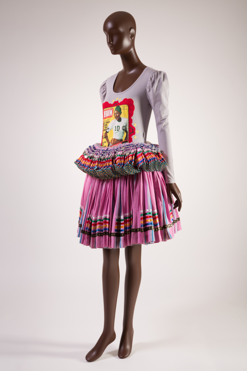 Set; grey long sleeve top in stretch cotton blend with vintage Drum magazine cover print; pink multi-colored striped Tsonga skirt in cotton with ribbon trim