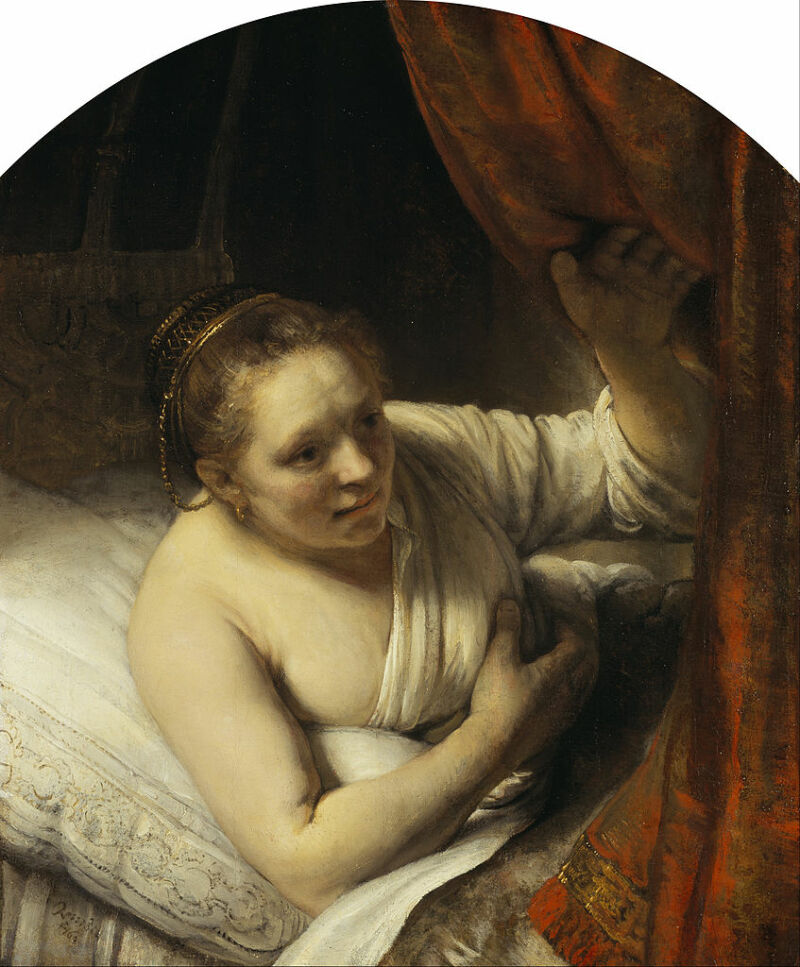 Rembrandt (Rembrandt van Rijn) - A Woman in Bed -