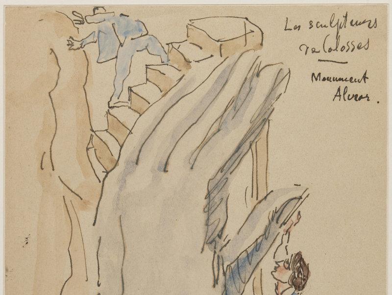 Emile Antoine Bourdelle (1861-1929). Les sculpteurs de colosses. Monument Alvear. Plume, encre brune et lavis d'encre sur papier. Paris, musée Bourdelle.