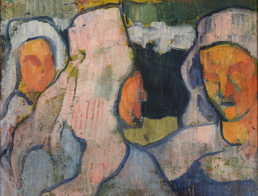 Émile Bernard, Trois Bretonnes en coiffe de deuil, 1888