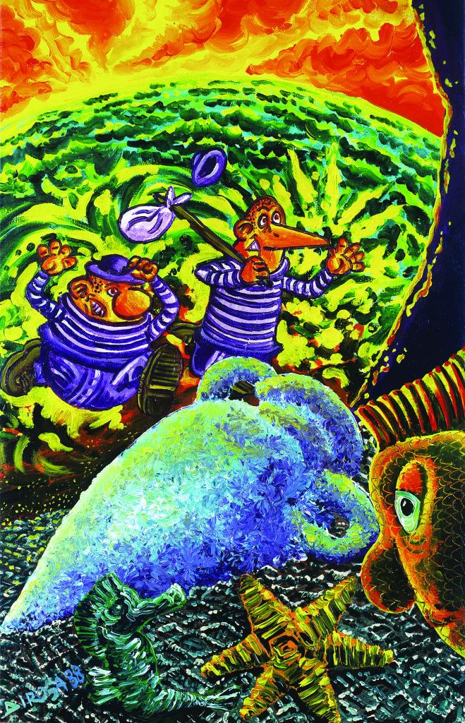 Hervé Di Rosa, Les 2 vagabons et la mer, 1988