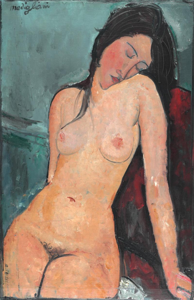 Amedeo Modigliani, Female Nude, vers 1916 Oil on canvas 92.4 x 59.8 cmThe Courtauld Gallery (The Samuel Courtauld Trust), London COPYRIGHT : The Samuel Courtauld Trust, TheCourtauld Gallery, London / Object id P.1932.SC.271
