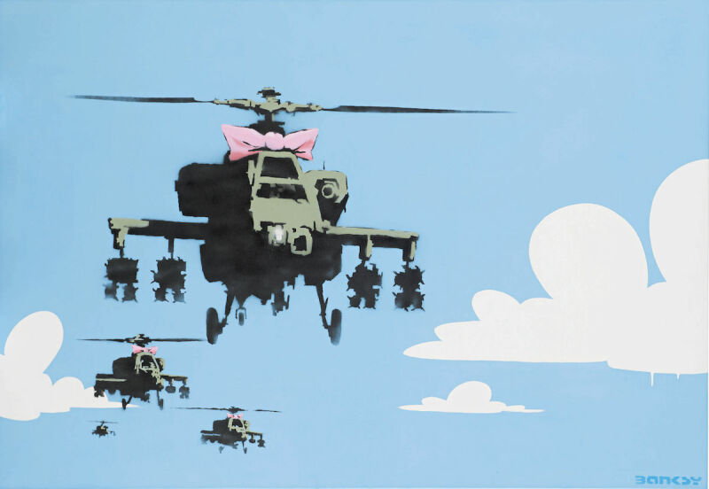 Banksy, Happy Choppers, dated 2006, Est. 0,000–600,000, sold for 5,000, Courtesy Sotheby's