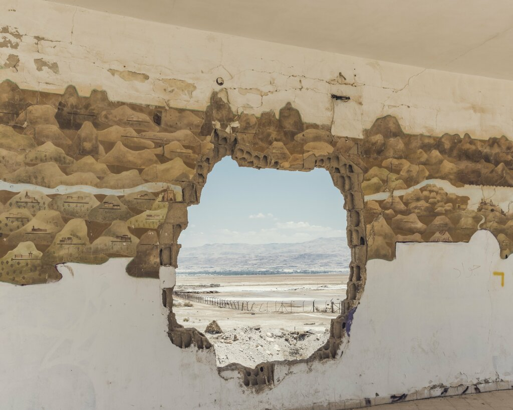 Abandoned building on the shore of the Dead Sea. West Bank, May 2016